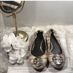 Tory Burch  Reva Flats - Cream, Gray, and Silver
